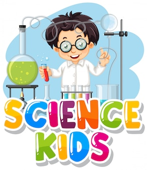 Дизайн шрифта для словесных детей с ребенком в лаборатории