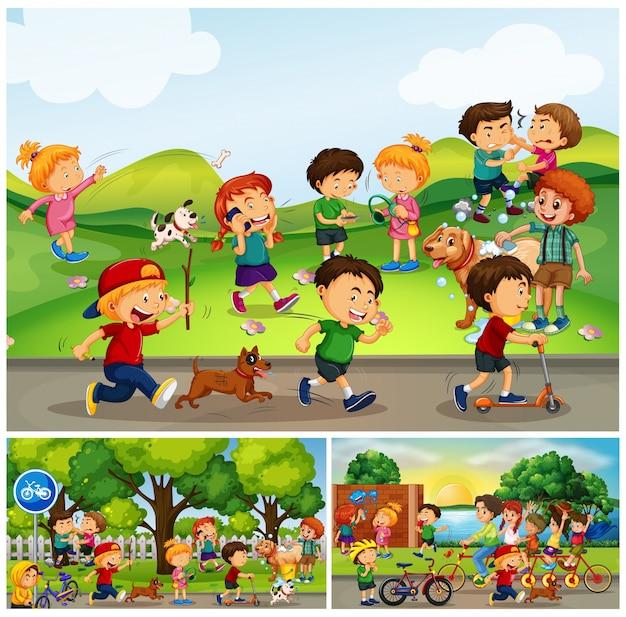 公園で何かをしている多くの子供たち