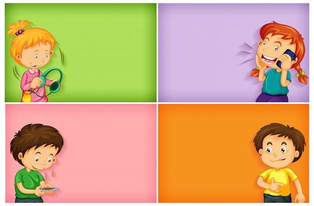 Простые фоны со счастливыми мальчиками и девочками, использующими свой телефон