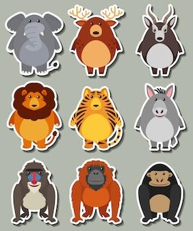 多くの野生動物のステッカーデザイン