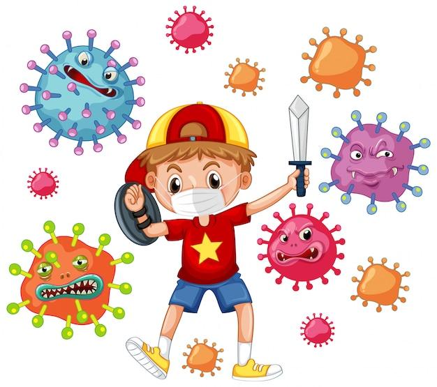 遊ぶ少年とコロナウイルスのポスターデザイン