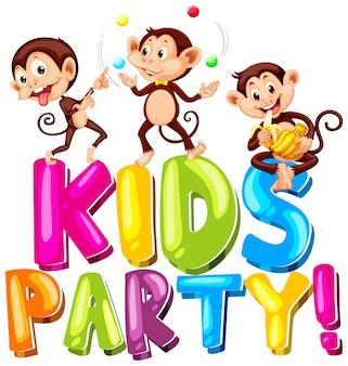 幸せなサルの演奏と単語の子供のパーティーのためのフォントデザイン