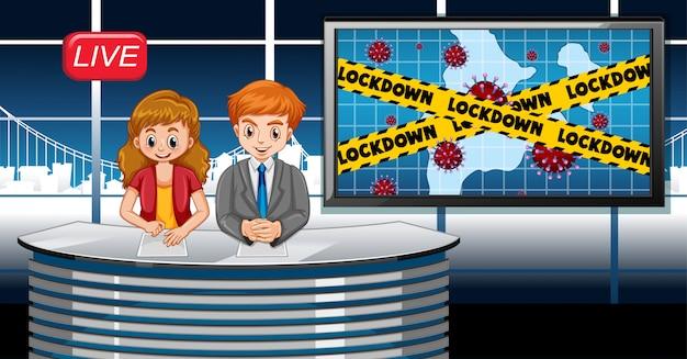 Коронавирусный дизайн плаката с репортером в прямом эфире в студии