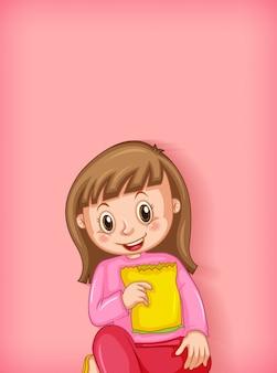 おやつを食べて幸せな女の子と背景テンプレートデザイン