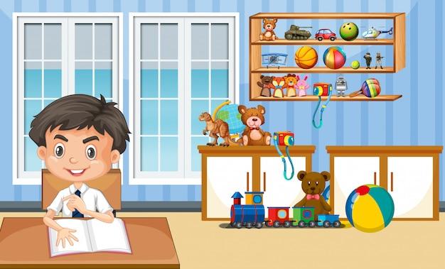 少年が自宅で宿題をしているシーン
