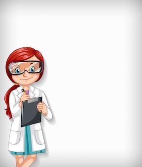 ボード上を書く女性医師と無地の背景