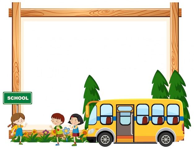 スクールバスに乗って子供たちと枠線テンプレートデザイン