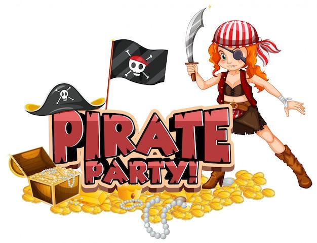 Дизайн шрифта для слова пиратской вечеринки с пиратом и сокровищами