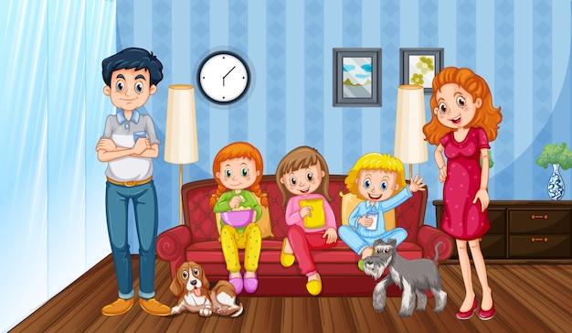 Сцена с семьей, хорошо проводящей время дома