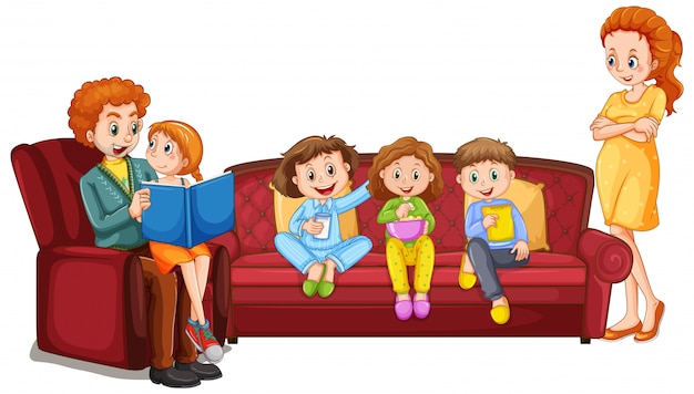 Члены семьи с родителями и детьми на белом фоне