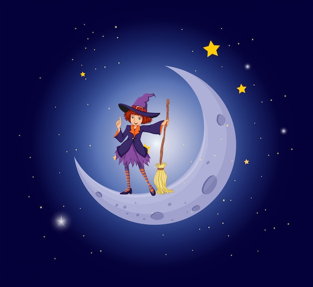 月の近くのかわいい魔女