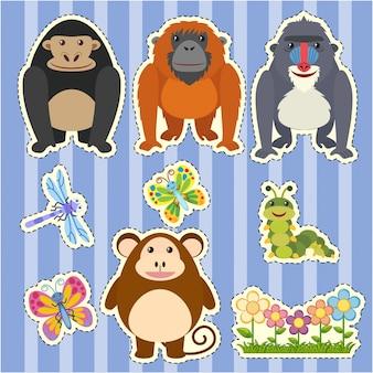 Дизайн наклейки для разных типов обезьян