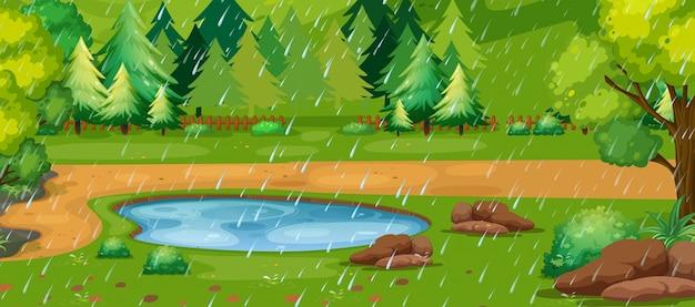 公園に池がある雨の日のシーン