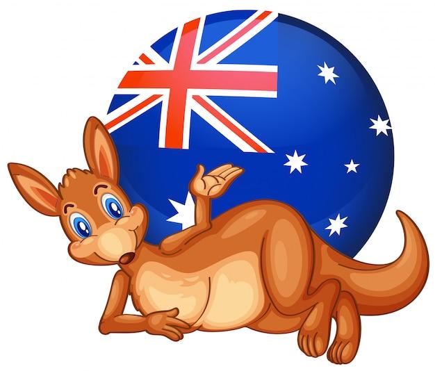 オーストラリアの旗が付いている球の前のカンガルー