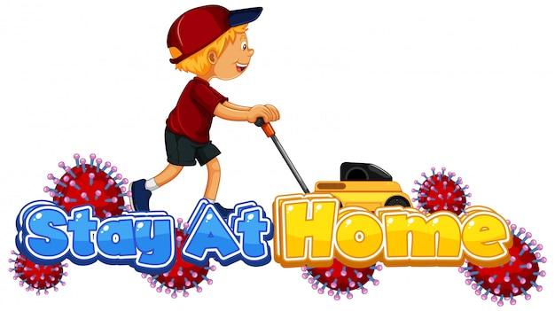 Коронавирусный дизайн плаката со словом «оставайся дома»