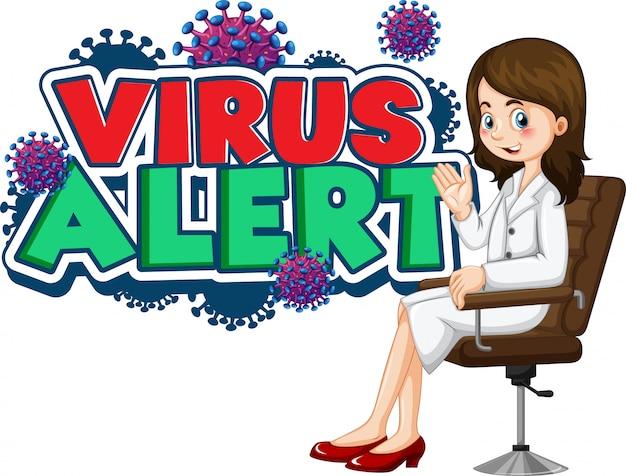 Женский доктор с вирусом предупреждает текстовый знак