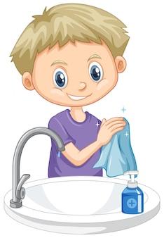 Мальчик чистит руки на белом фоне
