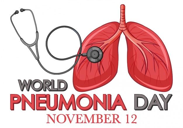 Дизайн плаката по пневмонии с легкими человека и стетоскопом