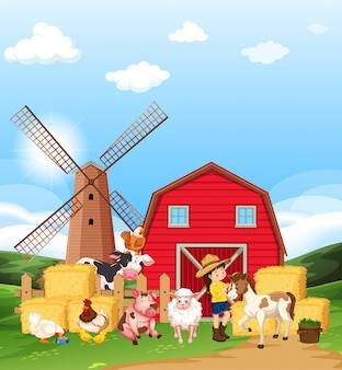 Ферма сцена с фермером и многими животными на ферме
