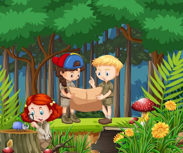 公園で多くの子供たちとのシーン