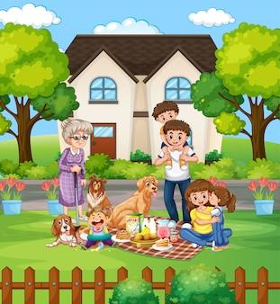 庭のフロンで家族のピクニック