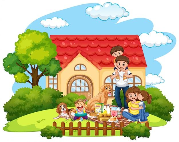 庭の前で家族のピクニック