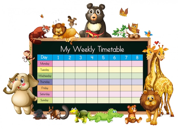 Расписание шаблона со многими животными на белом фоне