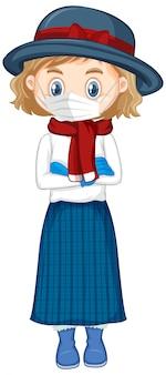 マスクを身に着けている帽子の少女漫画
