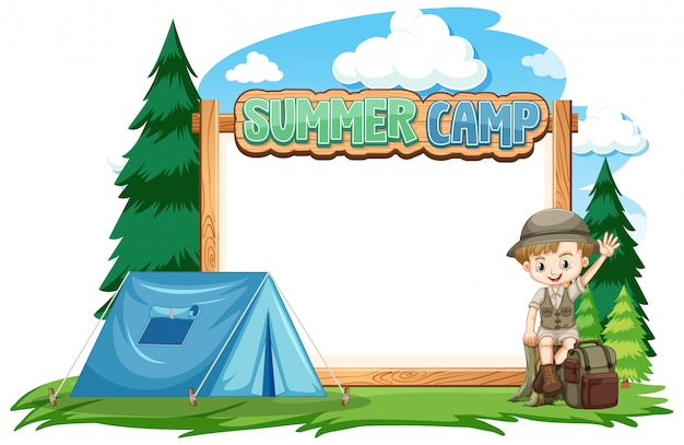 サマーキャンプで少年と枠線テンプレートデザイン