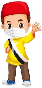 マスクを身に着けているイスラム教徒の少年キャラクター