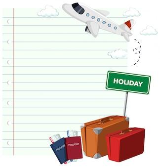 旅行テーマの背景を持つ枠線テンプレートデザイン