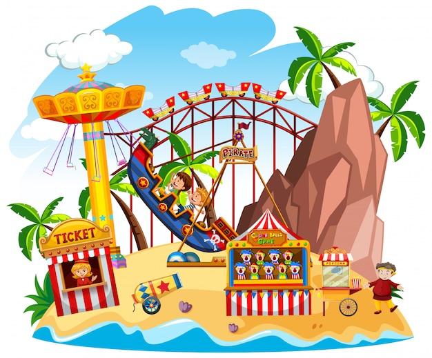 Сцена тематического парка с множеством аттракционов на острове