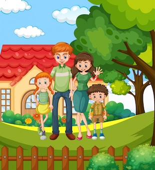 家でくつろぐ家族連れのシーン