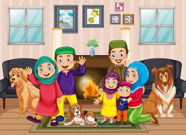Сцена с людьми, которые сидят дома с семьей