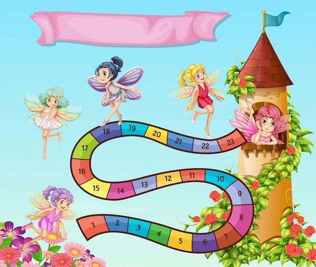庭に飛んで妖精とボードゲームテンプレート