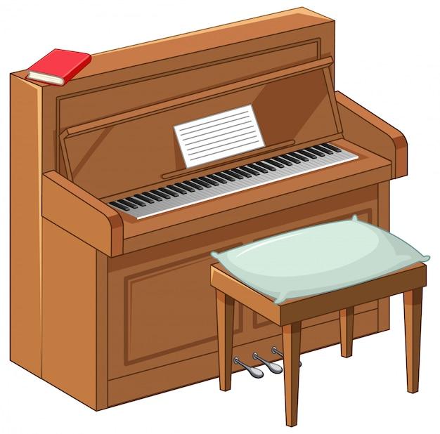 Ярко-коричневое пианино в мультяшном стиле на белом фоне