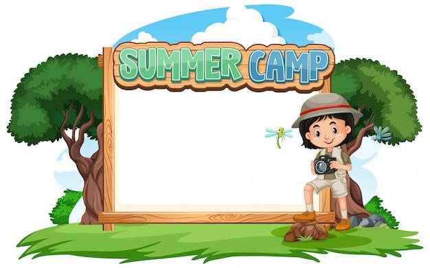 Границы шаблона дизайна с девушкой в летнем лагере