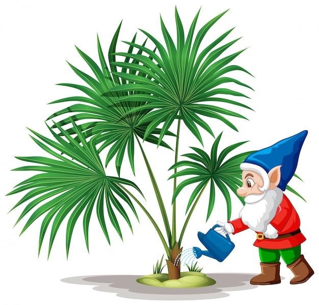 Гоблин поливает дерево в мультяшный персонаж на белом фоне