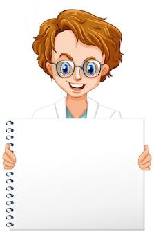 白い背景の上の男性の科学者と空白記号テンプレート