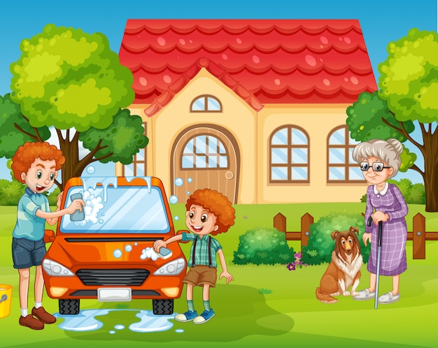 家族と一緒に家にいる人々とのシーン