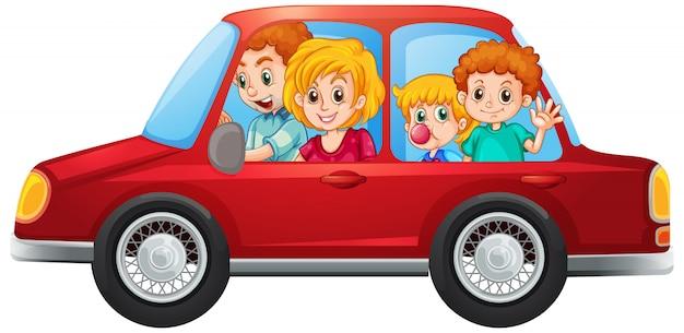 Счастливая семья в машине