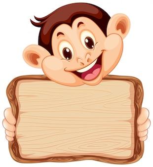 Совет шаблон с милой обезьяны на белом фоне
