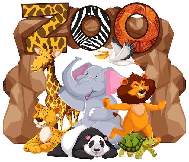 動物園の看板の下の動物のグループ