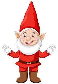 Гном стоя с рождественской одежды в мультяшный персонаж на белом фоне