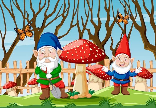 Гном с грибами и бабочкой в саду в мультяшном стиле