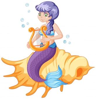Симпатичная русалка мультипликационный персонаж