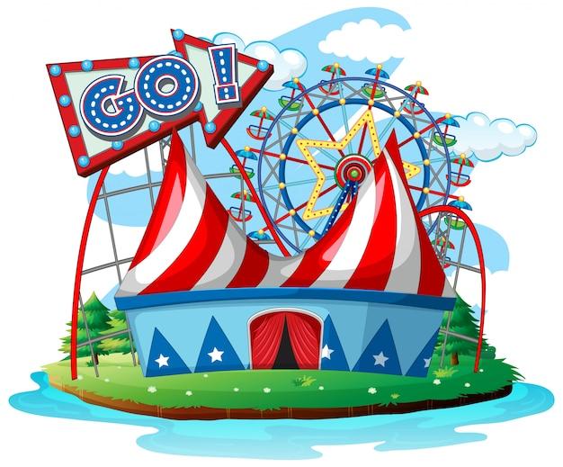 Сцена с колесами обозрения в цирке на белом фоне