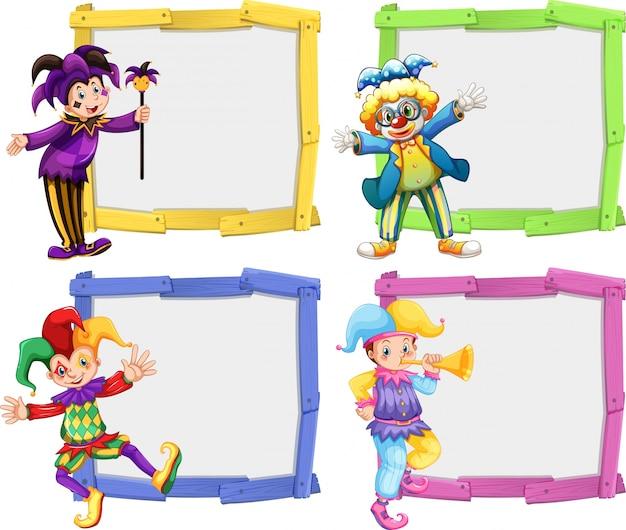 Деревянная рамка с клоунами