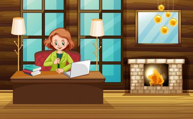 自宅のコンピューターで働く女性とのシーン