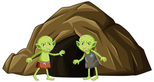 白い背景の上の漫画のキャラクターの洞窟とゴブリン